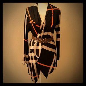 Sweaters - 🖐3/$15🖐 Orange and Black long shrug (NWOT)